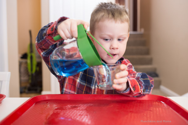 Water pouring is a great practical life skill that toddlers and preschoolers enjoy practicing!