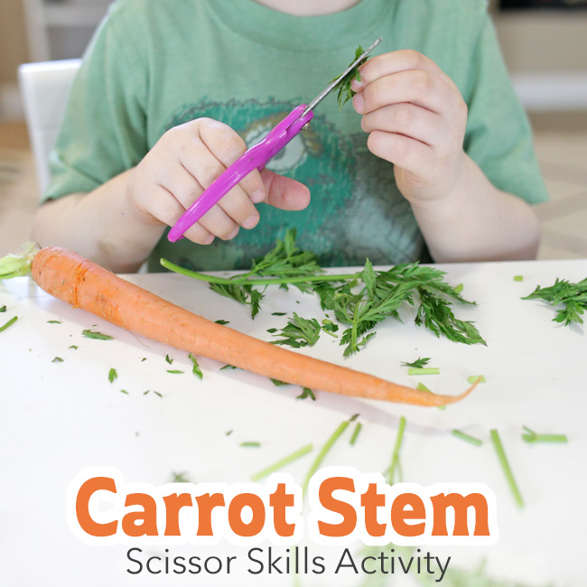 This scissor skills activity is great to include in a spring preschool unit (gardening, Easter, vegetables).