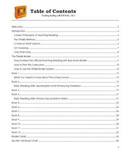 A look at the Table of Contents