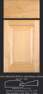 "1"" Thick Cope and Stick Cabinet Door C101 OE9-IE51-RP55 in Hard Maple, Select and Slab Drawer Front with OE9"