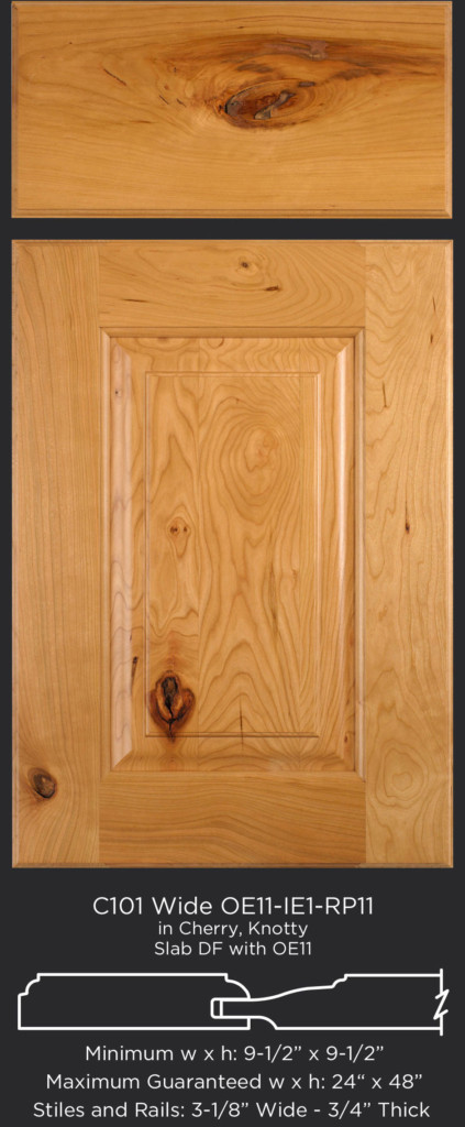Cope and Stick Cabinet Door C101 Wide OE11-IE1-RP11 in Cherry, Knotty - Slab drawer front with OE11