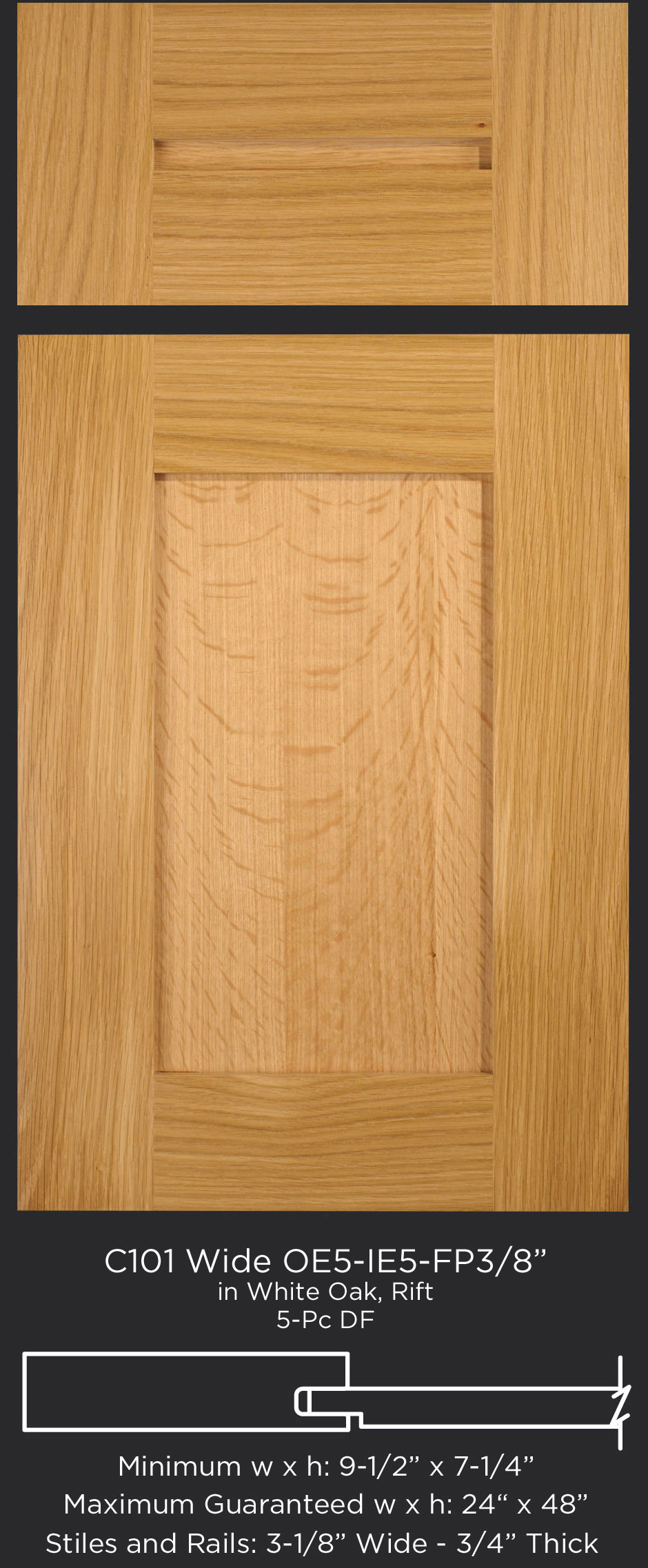 Cope and Stick Cabinet Door C101 Wide OE5-IE5-FP3/8 White Oak, Rift and 5-piece drawer front