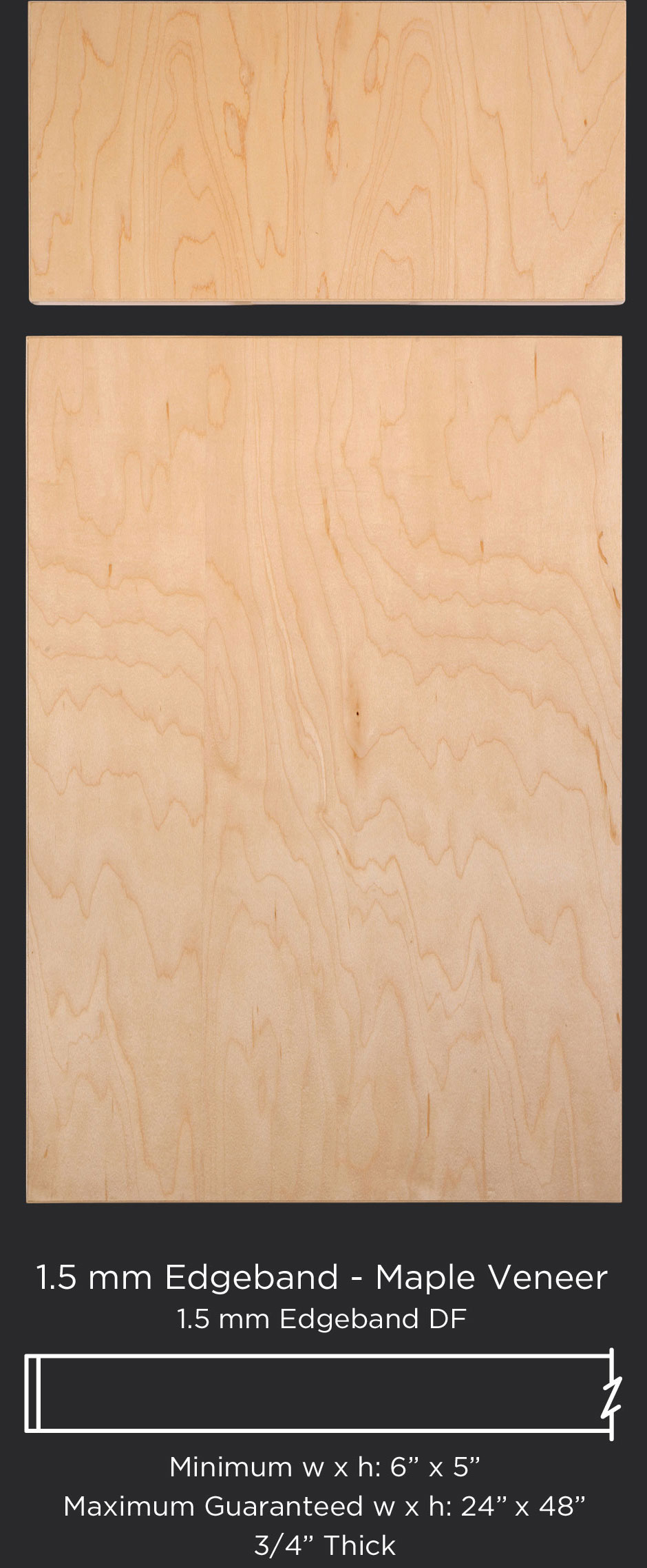 1.5 mm edgebanded door and drawer front- maple veneer