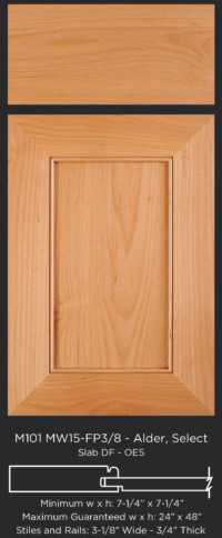 Mitered Cabinet Door M101 MW15-FP3/8 in Alder, Select and Slab drawer front with OE5