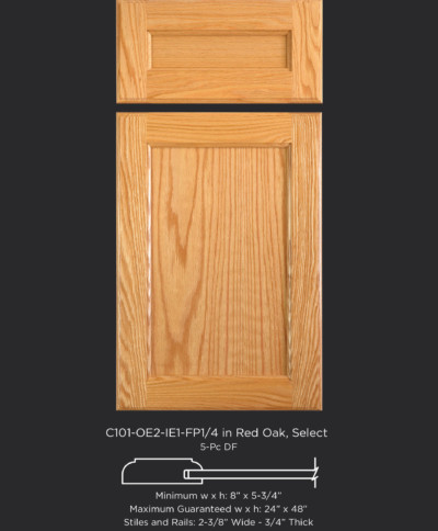 Cope and Stick Cabinet Door C101 OE2-IE1-FP1/4 in Red Oak, Select and 5-piece drawer front