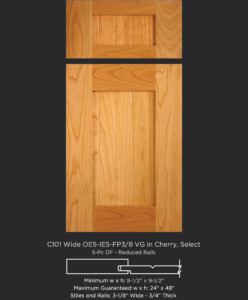 Cope and Stick Cabinet Door C101 Wide OE5-IE5-FP3/8 Cherry, Select and 5-piece drawer front with reduced rails