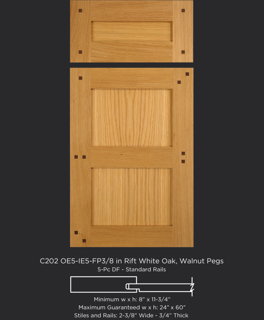 Cope and Stick Cabinet Door C201 OE5-IE5-FP3/8 in Rift White Oak with walnut pegs and 5 piece drawer front