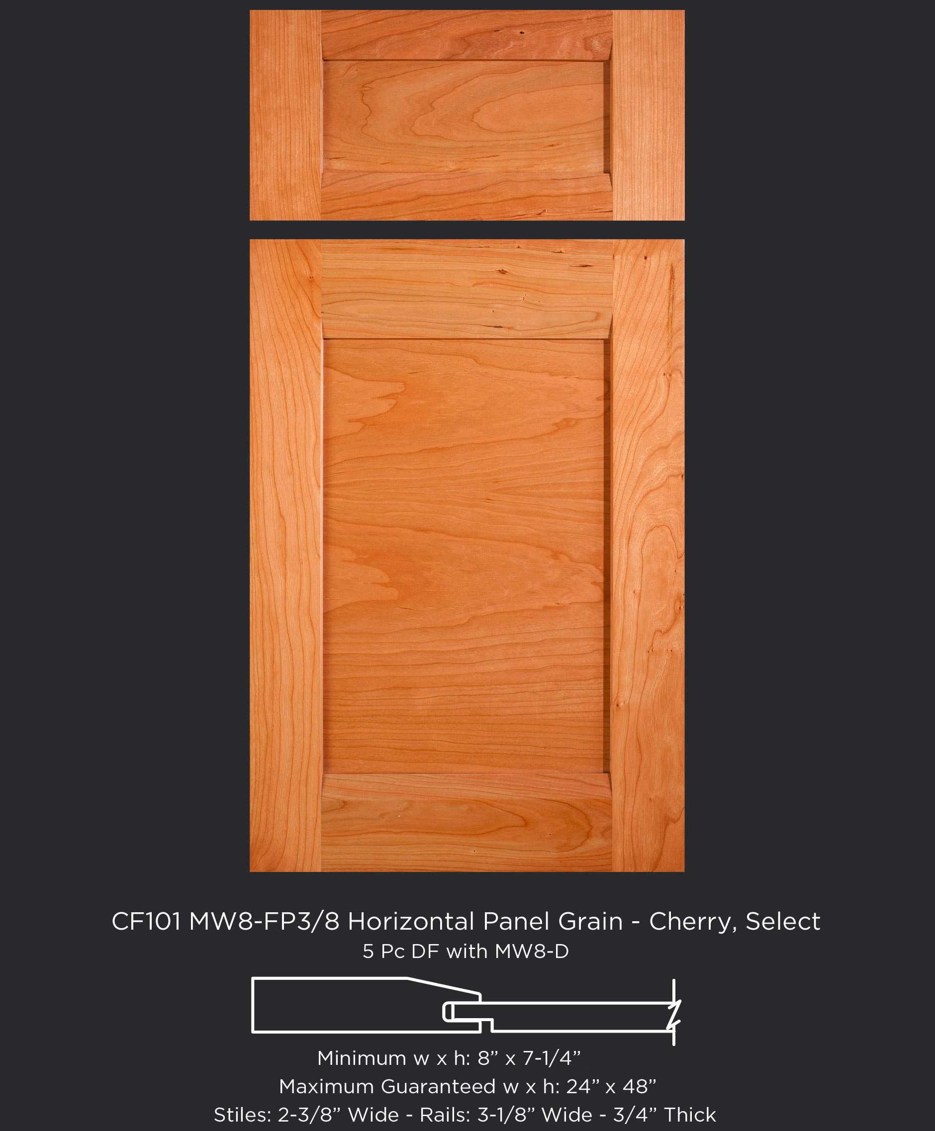 Combination Frame Cabinet Door CF101 MW8-FP3/8 with horizontal panel grain in Cherry, Select and 5-piece drawer front with MW8-D