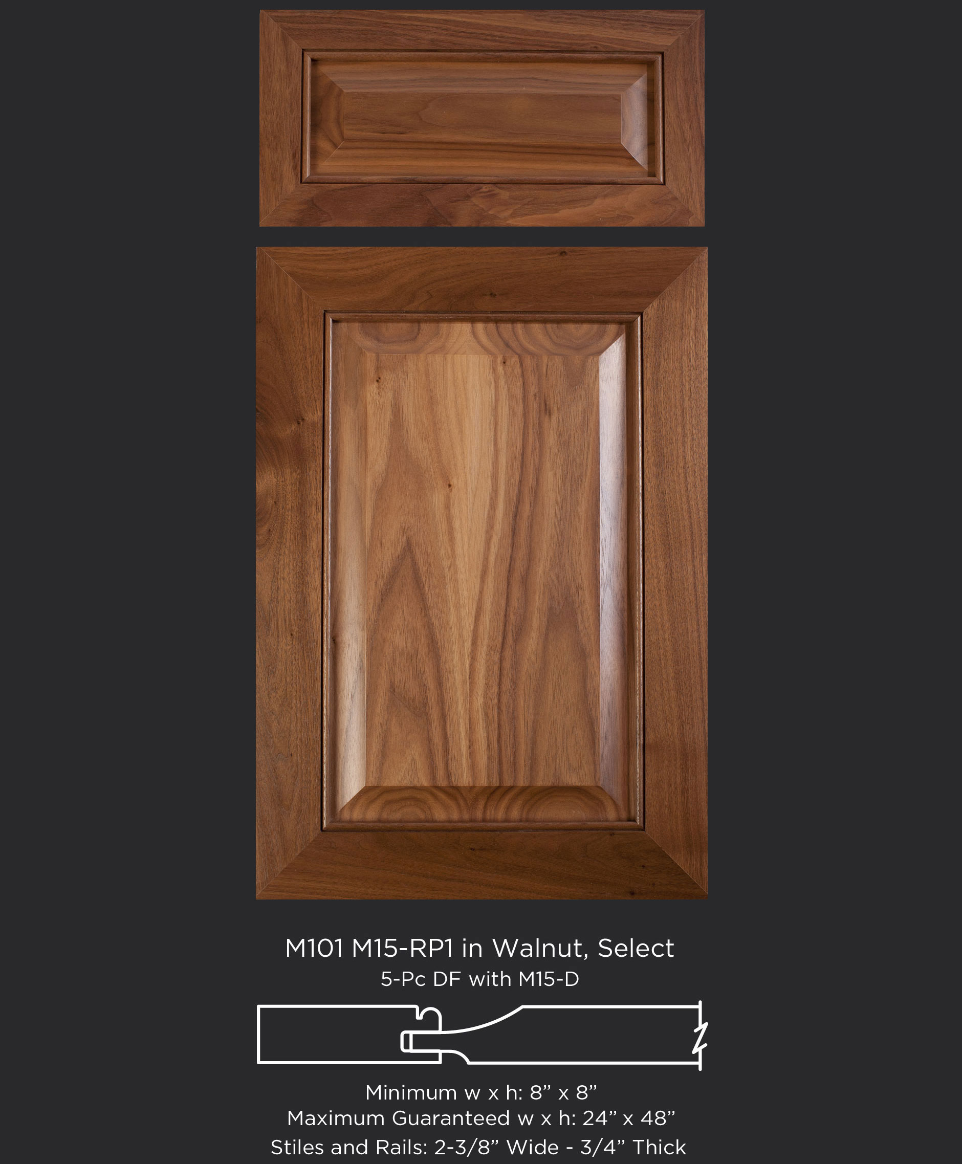 Mitered Cabinet Door M101 M15-RP1 in Walnut, Select and 5-piece drawer front with M15-D
