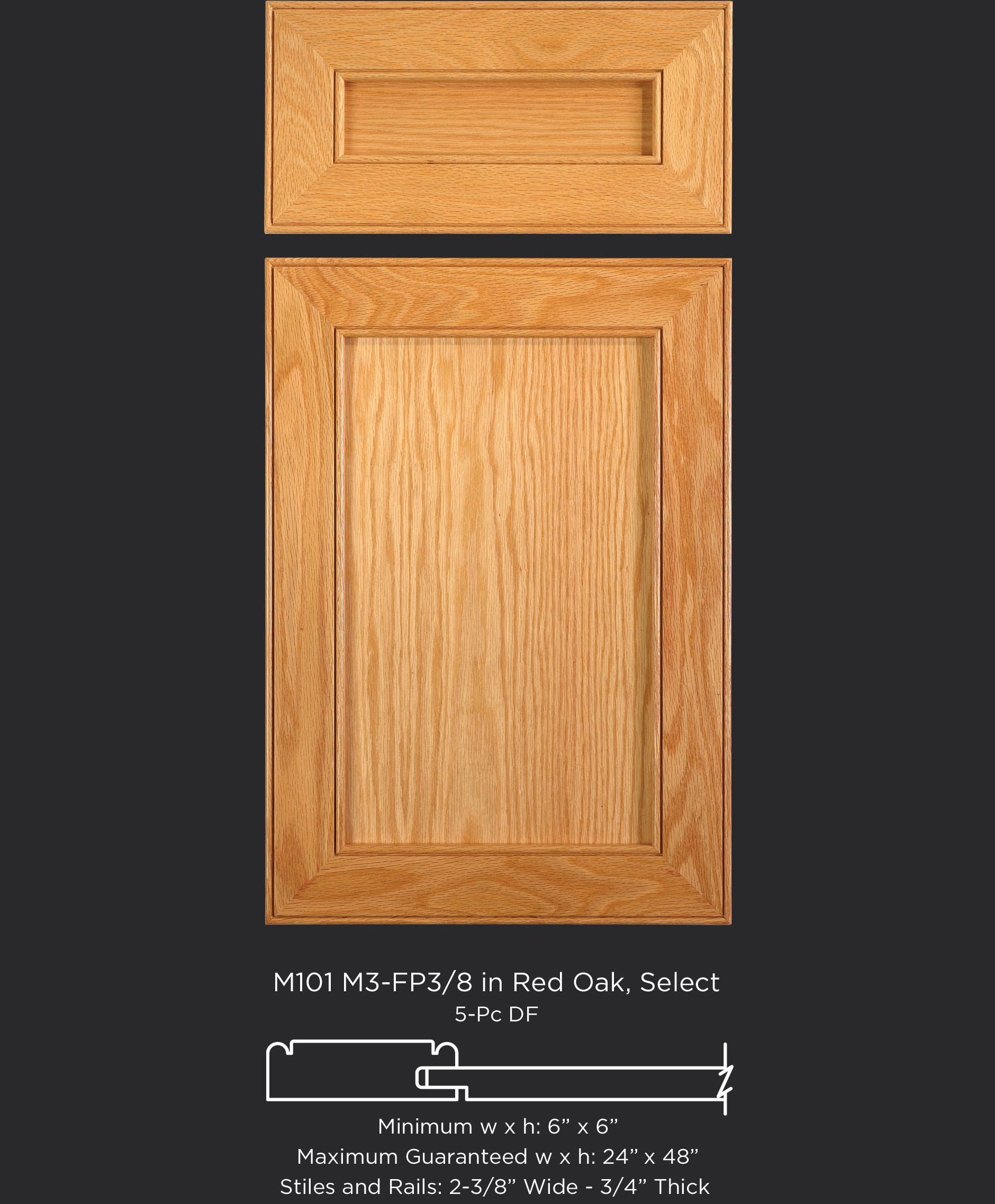 Mitered Cabinet Door M101 M3-FP3/8 in Red Oak, Select and standard 5-piece drawer front