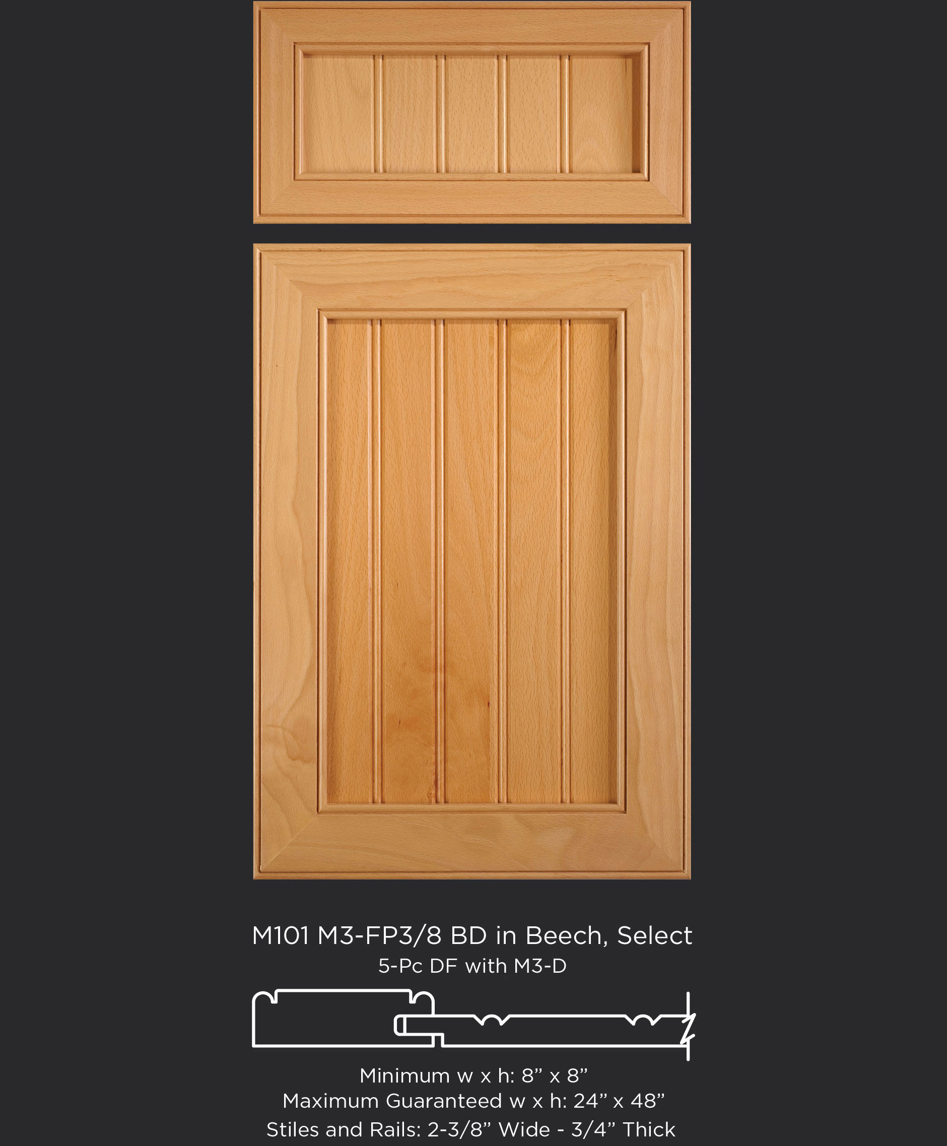 Mitered Cabinet Door M101 M3-FP3/8 BD Beech, Select and 5-pc drawer front with M3-D