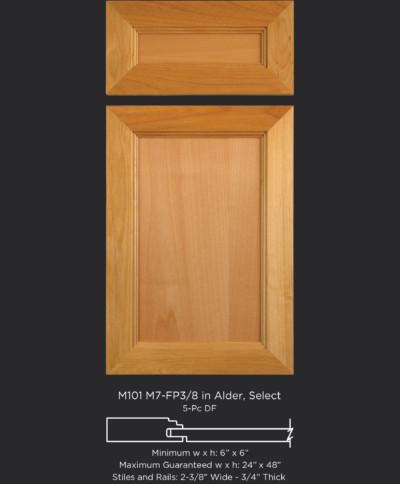 Mitered Cabinet Door M101 M7-FP3/8 in Alder, Select and standard 5-piece drawer front