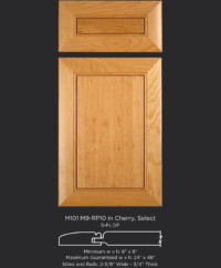 Mitered Cabinet Door M101 M9-RP10 in Cherry, Select and standard 5-piece drawer front