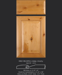 Mitered Cabinet Door M101 M9-RP9 in Alder, Knotty and slab drawer front with OE12