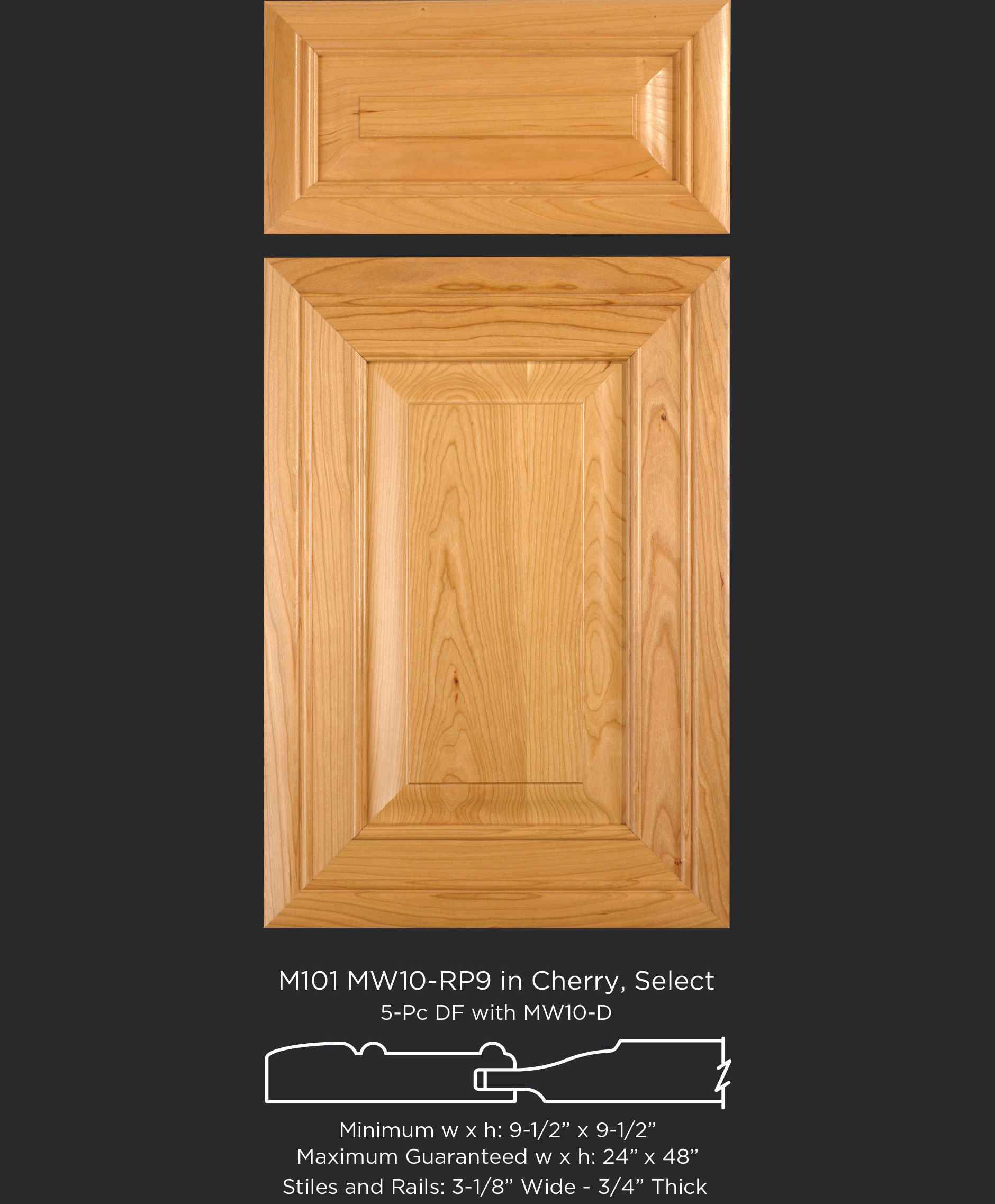 Mitered Cabinet Door M101 MW10-RP9 in Cherry, Select and 5-piece drawer front with MW10-D