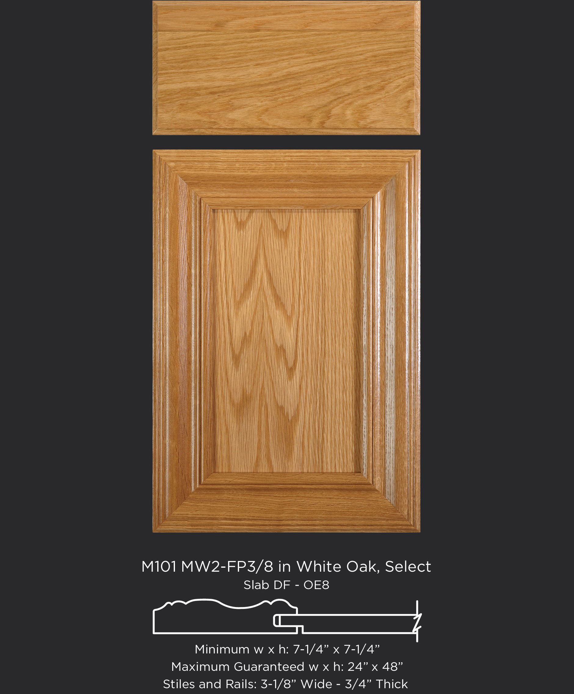 Mitered Cabinet Door M101 MW2-FP3/8 in White Oak, Select and Slab drawer front with OE8