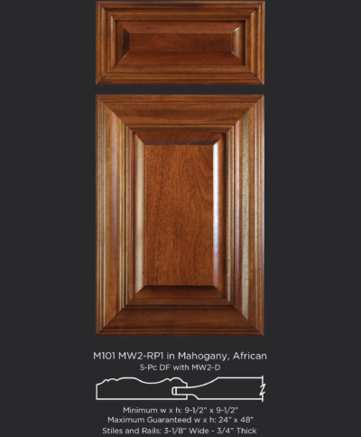 Mitered Cabinet Door M101 MW2-RP1 in Mahogany, African, stained and 5-piece drawer front with MW2-D