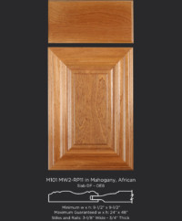 Mitered Cabinet Door M101 MW2-RP11 in Mahogany, African and Slab drawer front with OE8