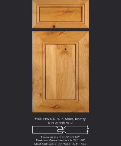Mitered Cabinet Door M101 MW4-RP4 in Alder, Knotty and 5-Piece drawer front with M6-D