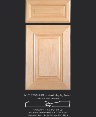 Mitered Cabinet Door M101 MW5-RP11 in Hard Maple, Select and 5-piece drawer front with MW5-D