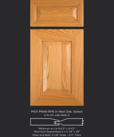 Mitered Cabinet Door M101 MW8-RP6 in Red Oak, Select and 5-piece drawer front with MW8-D