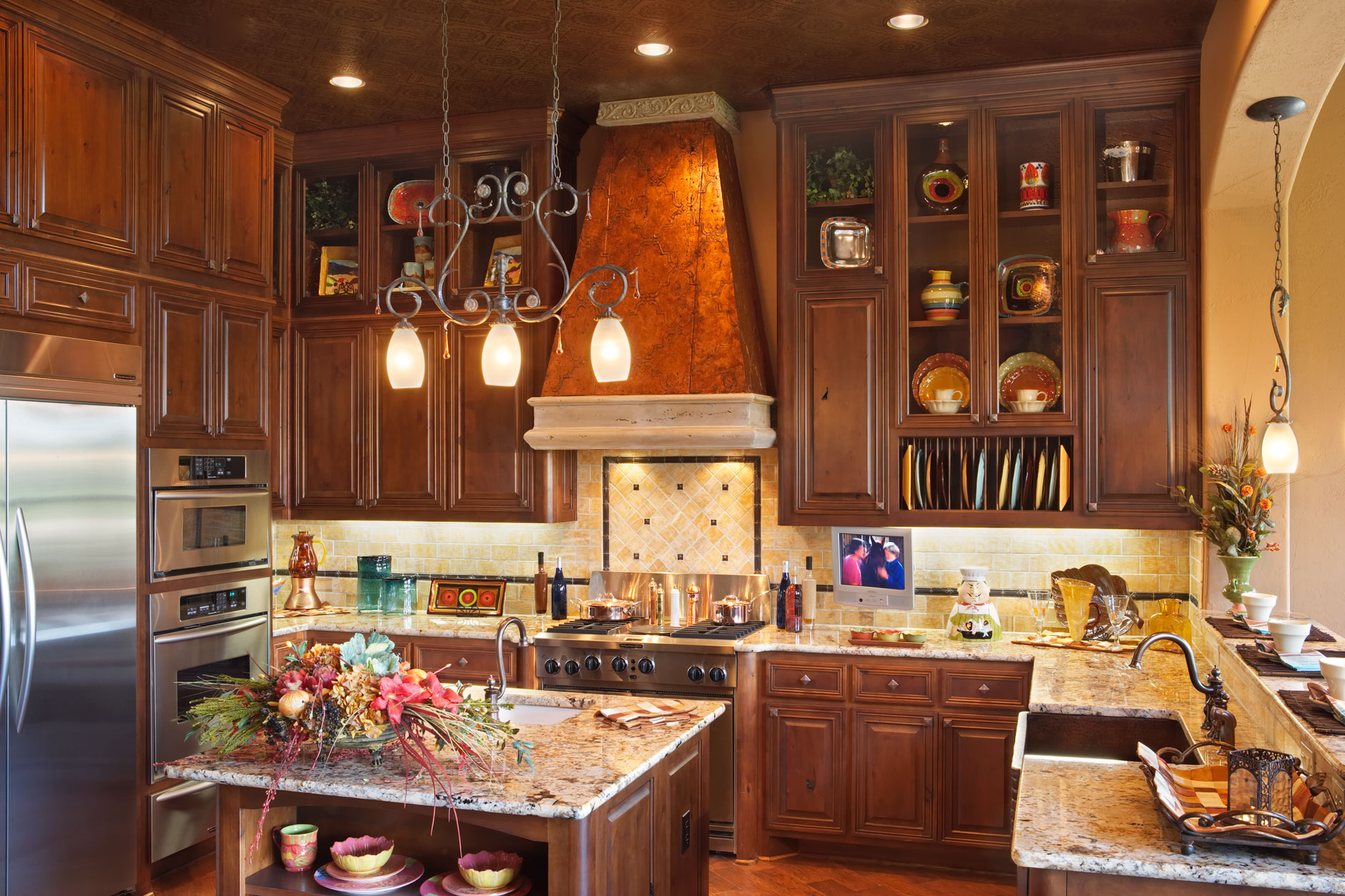 Kitchen cabinets with mitered cabinet doors Knotty Alder with M1, RP1