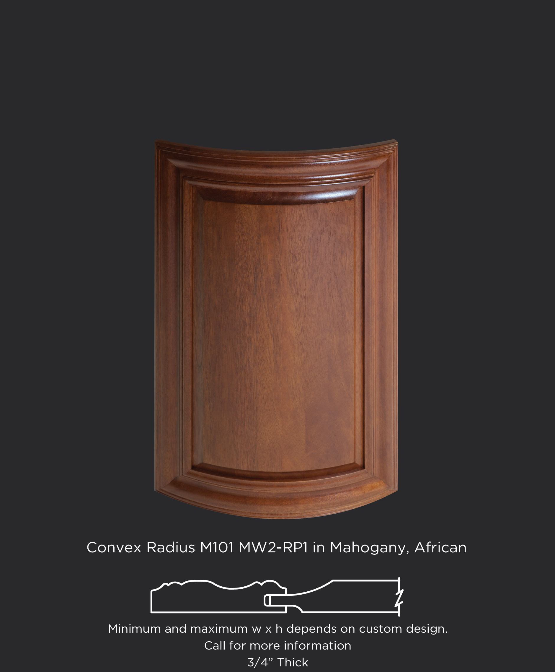Convex radius mitered cabinet door with MW2-RP1 in African Mahogany