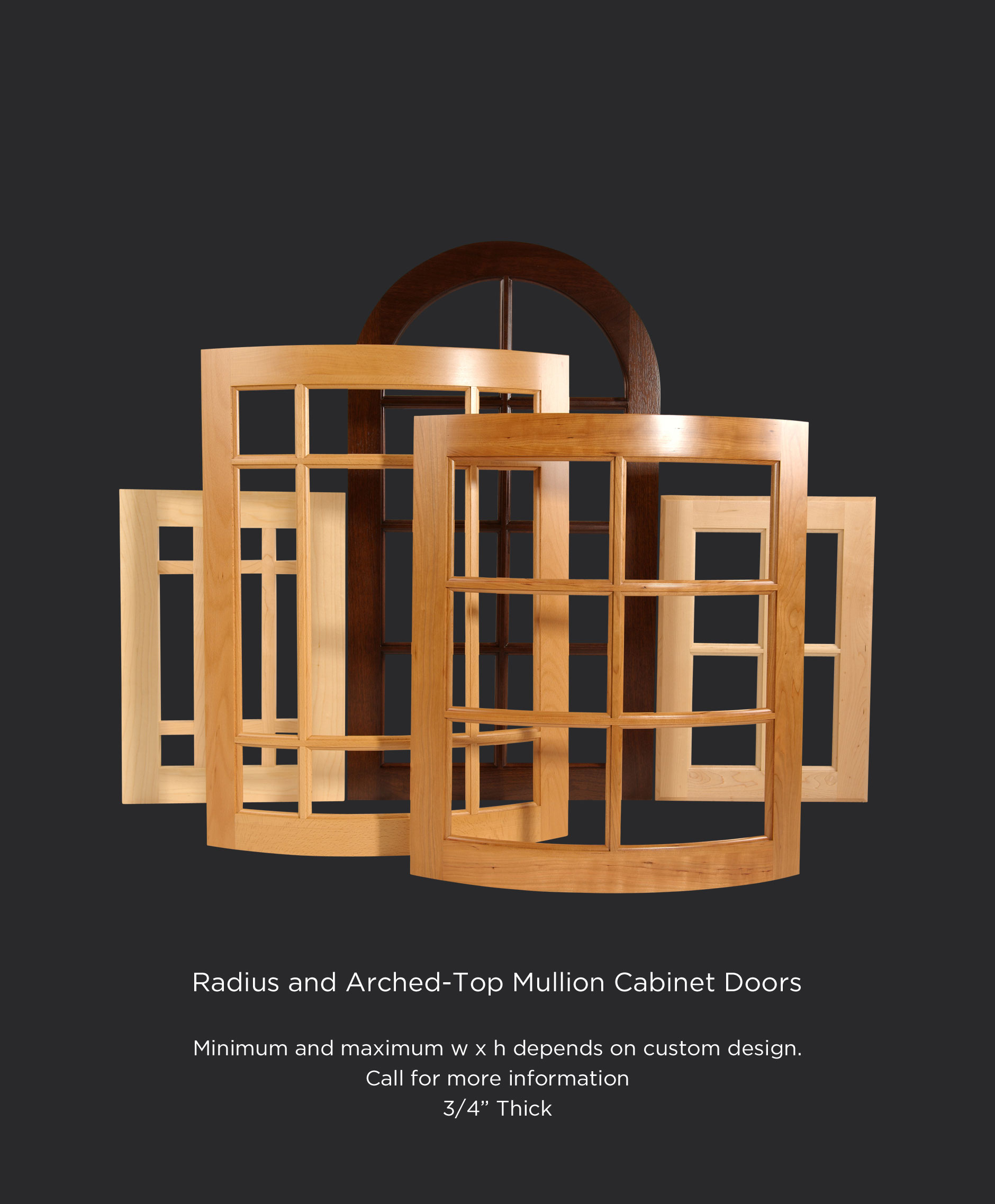 Convex and concave radius mullion cabinet doors