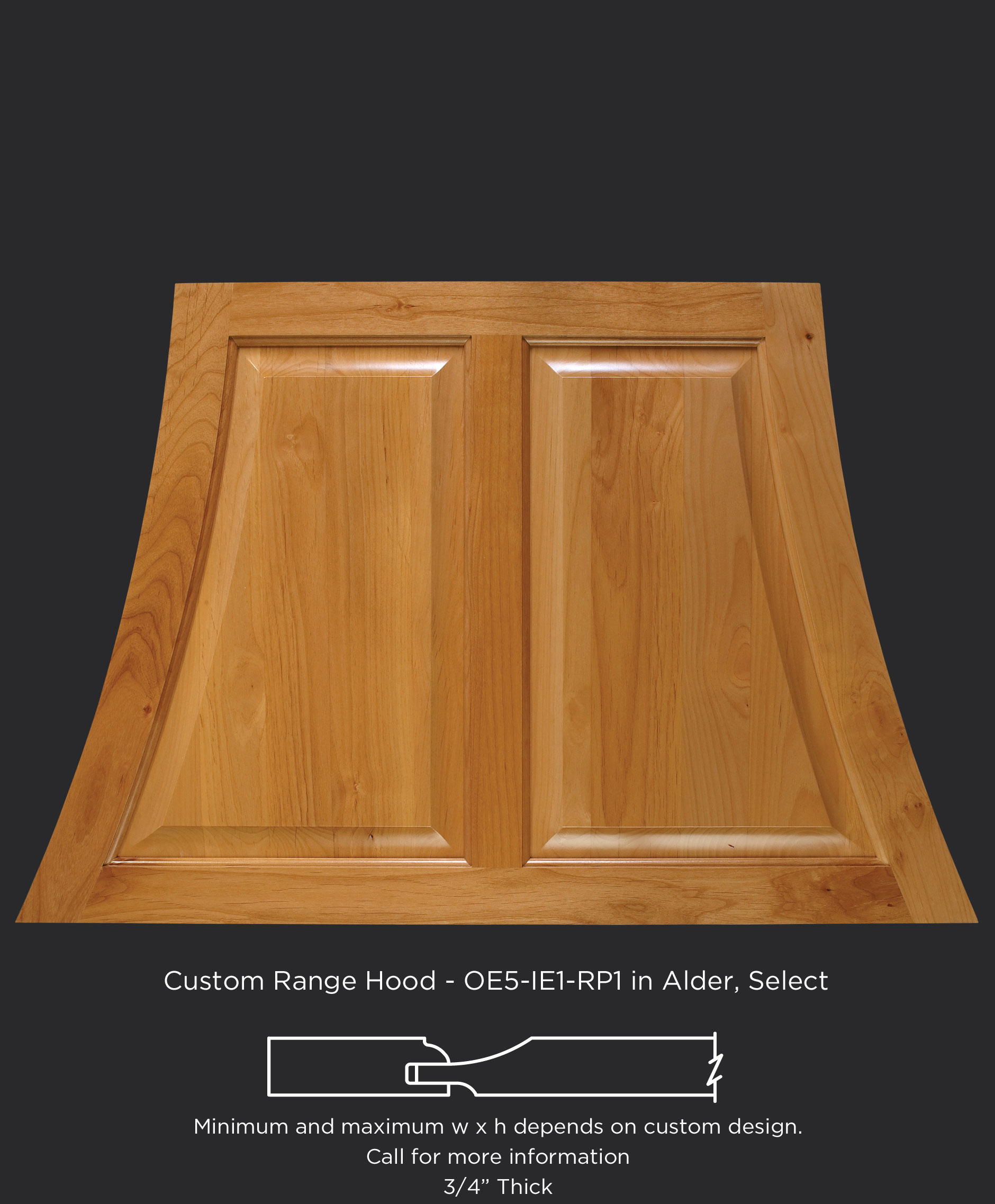 Wood range hood with center stile and OE5-IE1-RP1 in Alder, Select