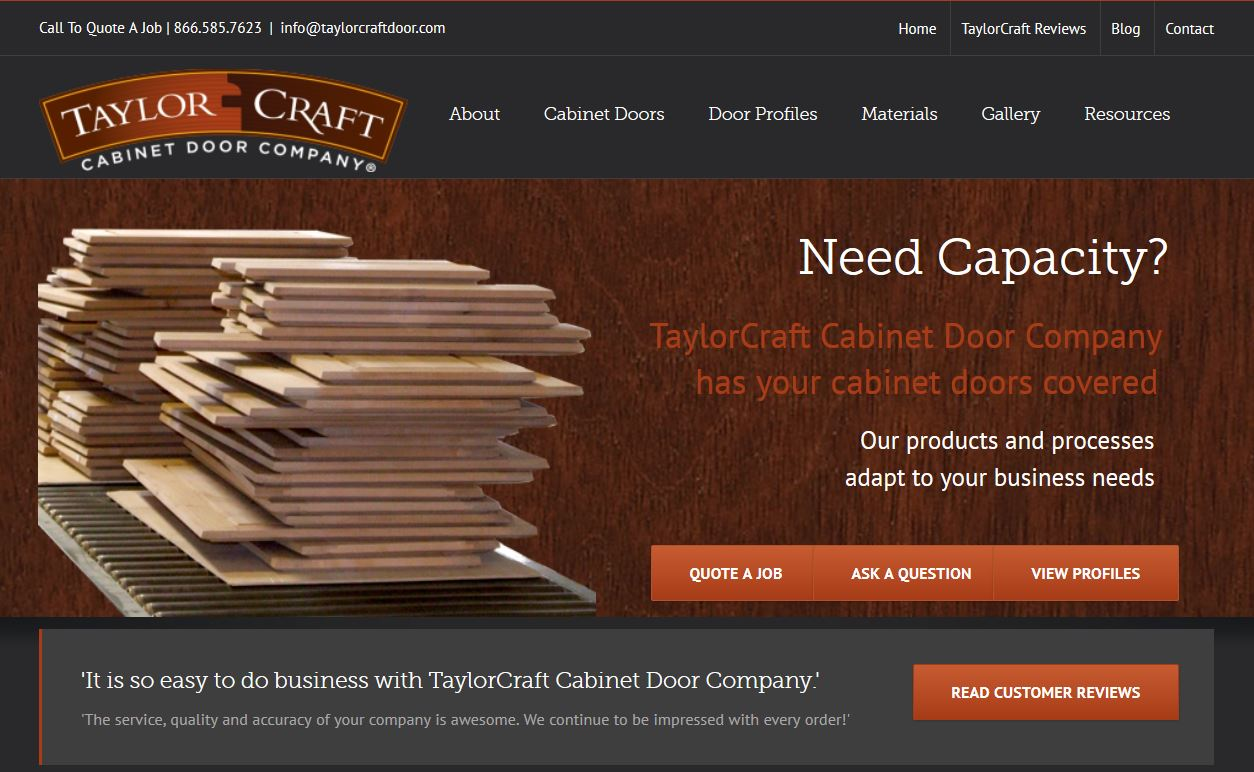 Taylorcraft Cabinet Door Co home page image