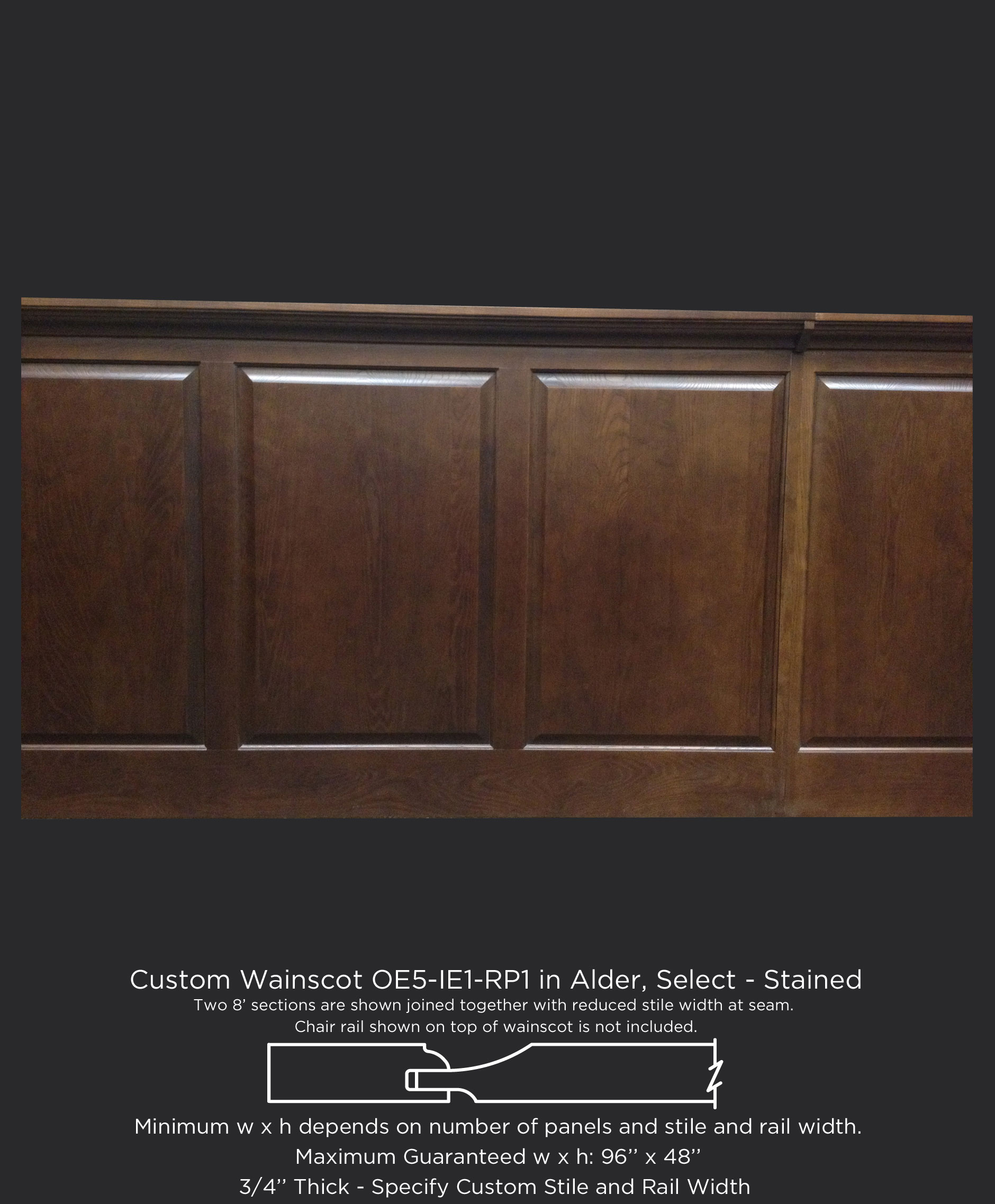 Custom wood wainscot with OE5-IE1-RP1 in Alder, Select and customer applied stained