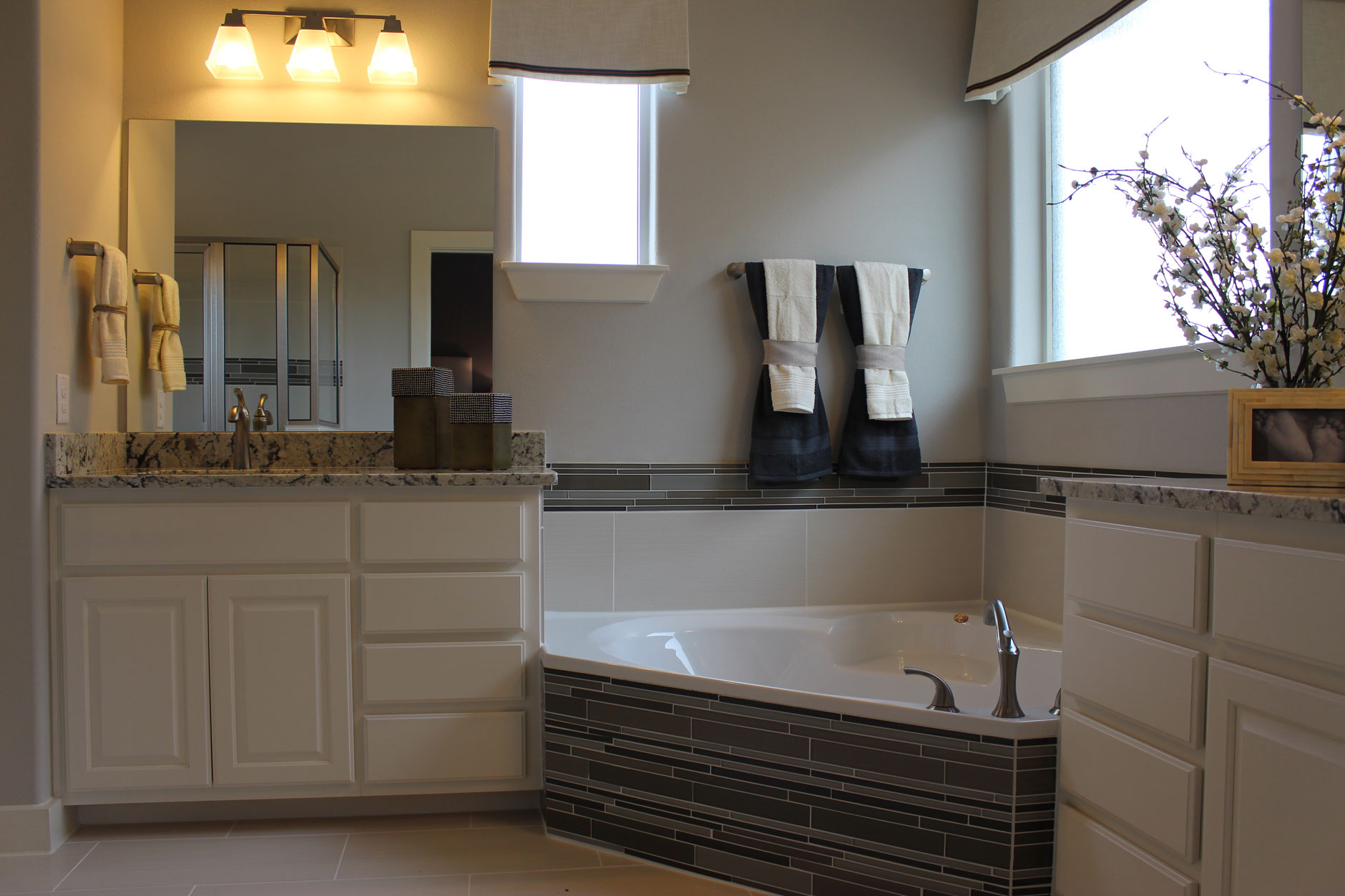 Bathroom cabinets with C101 - OE3, IE1, RP1 painted white