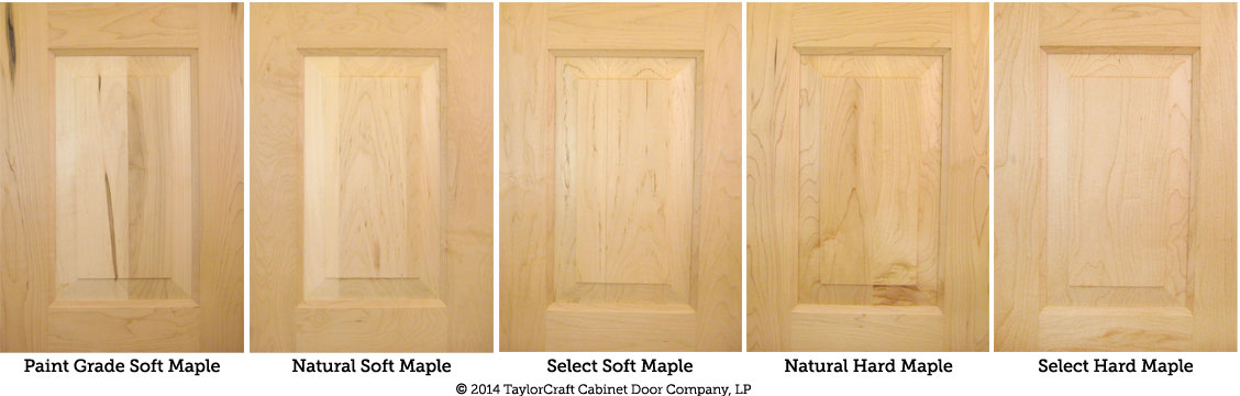 hard maple and soft maple cabinet door comparison by TaylorCraft Cabinet Door Company