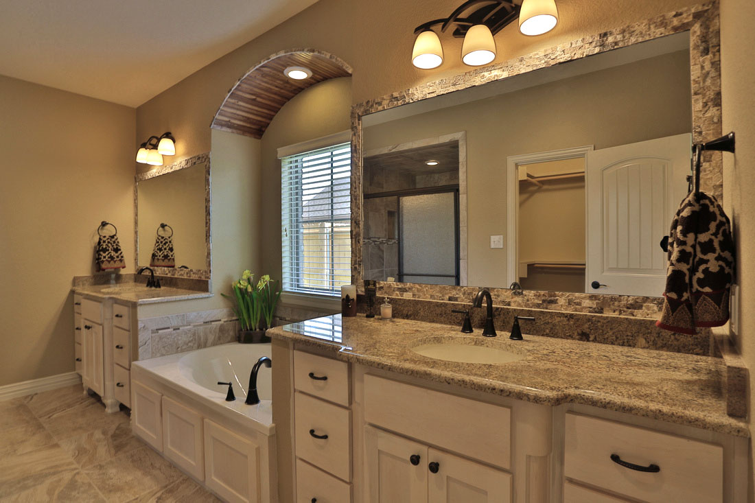 master bathroom with paint grade maple shaker style cabinets painted white