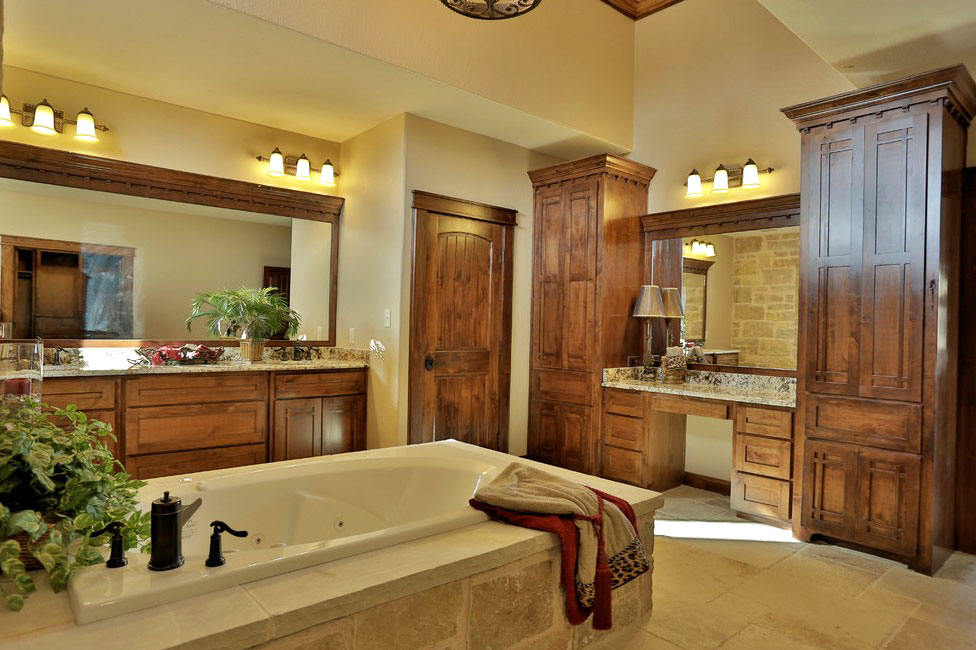 shaker style bathroom cabinets in knotty alder