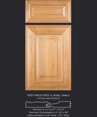 Mitered Cabinet Door M101 MW22-RP1 in Alder, Select
