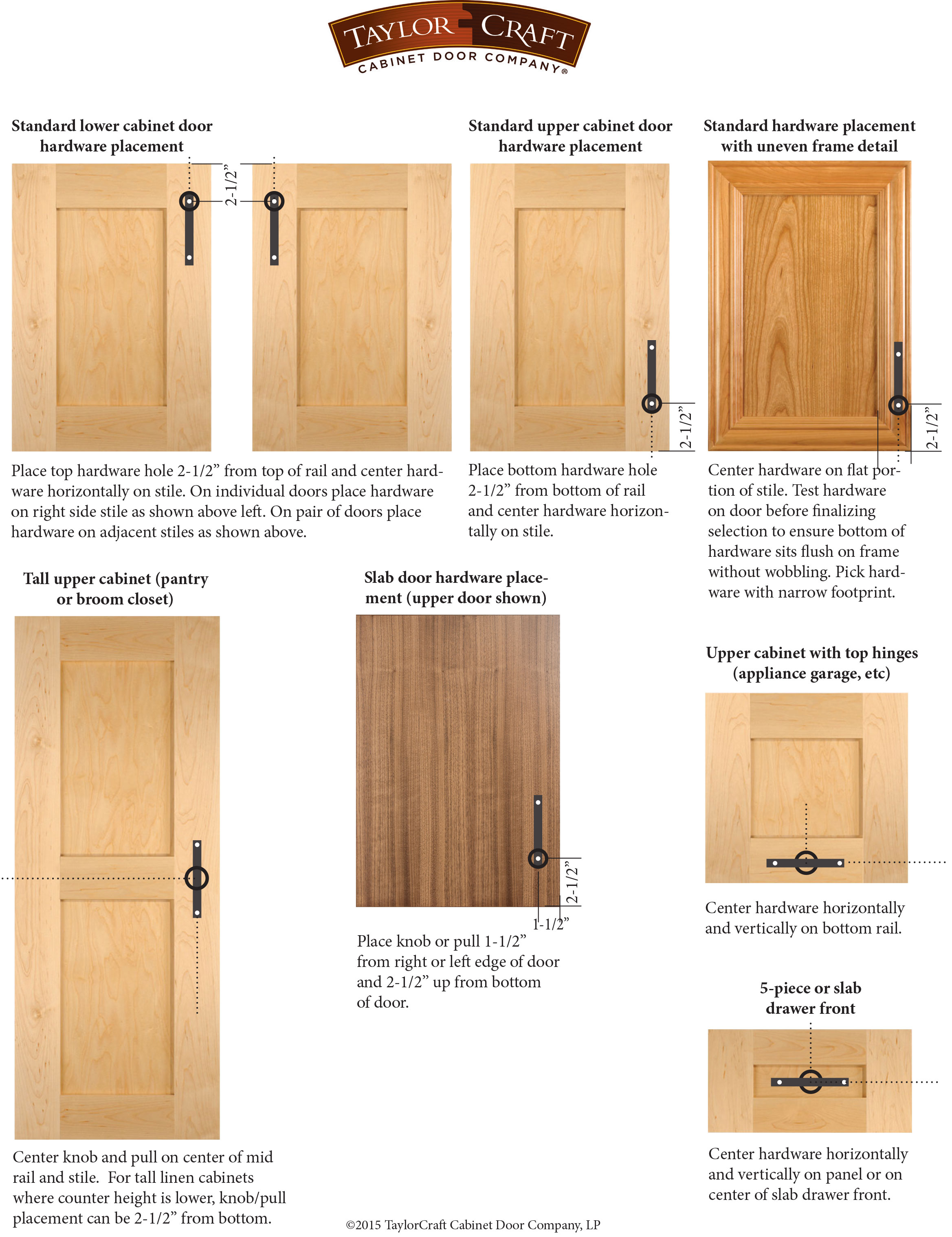 Cabinet Door Hardware Placement Guidelines Taylorcraft Cabinet Door Company