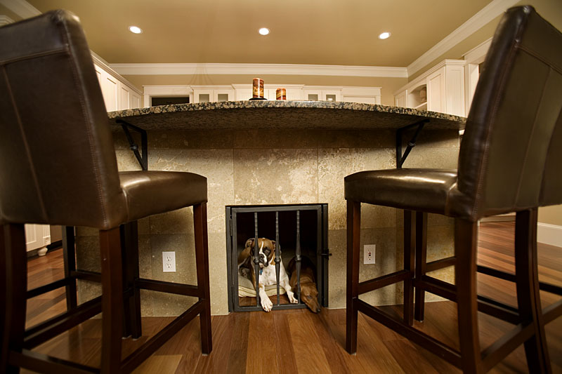 kitchen island with built in dog kennel