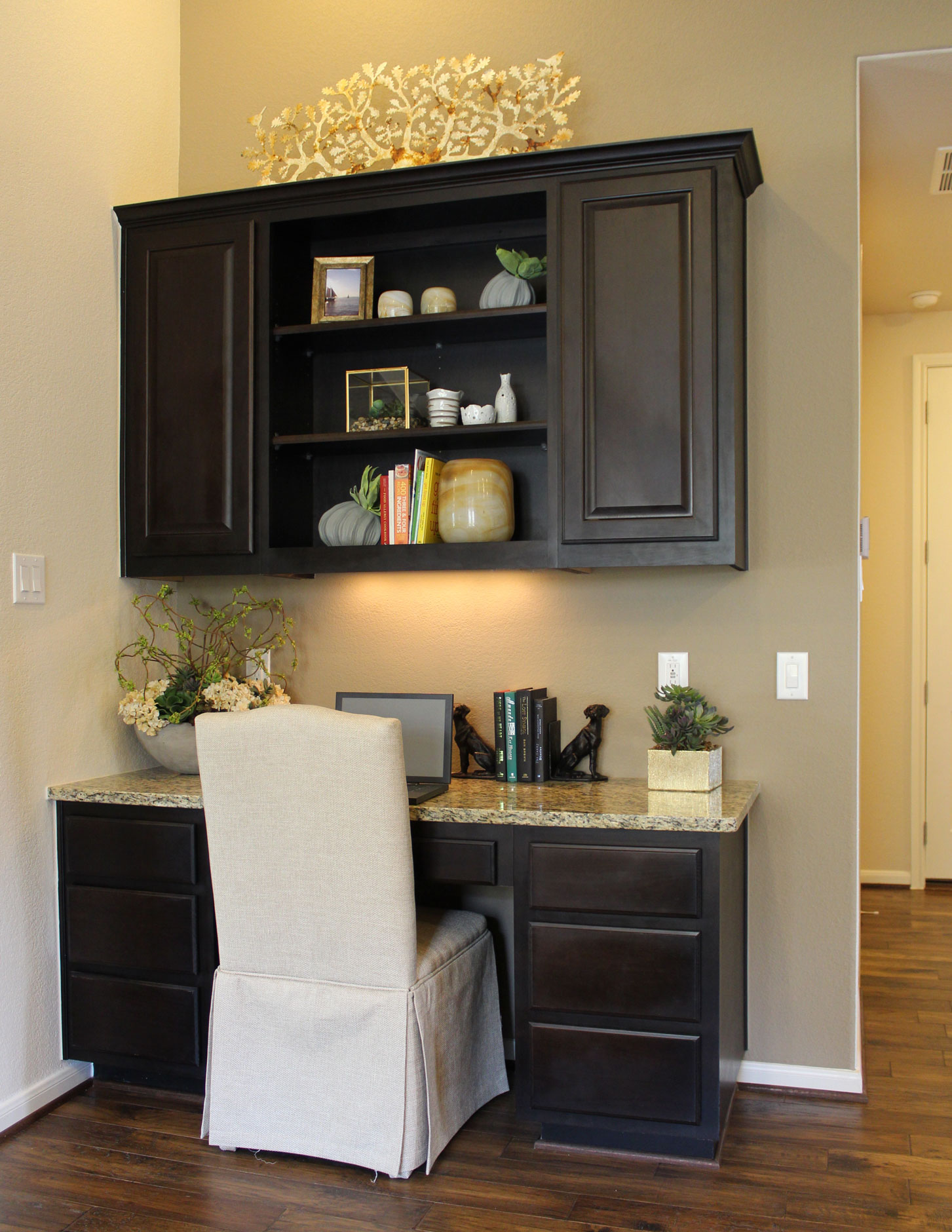 Built in desk with raised panel doors by TaylorCraft Cabinet Door Company