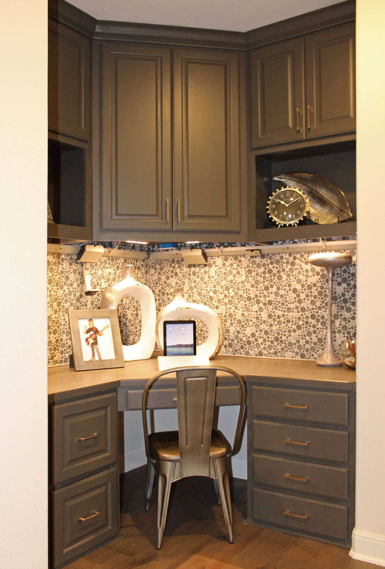 Corner study desk with built in cabinets - doors and drawer fronts by TaylorCraft Cabinet Door Company