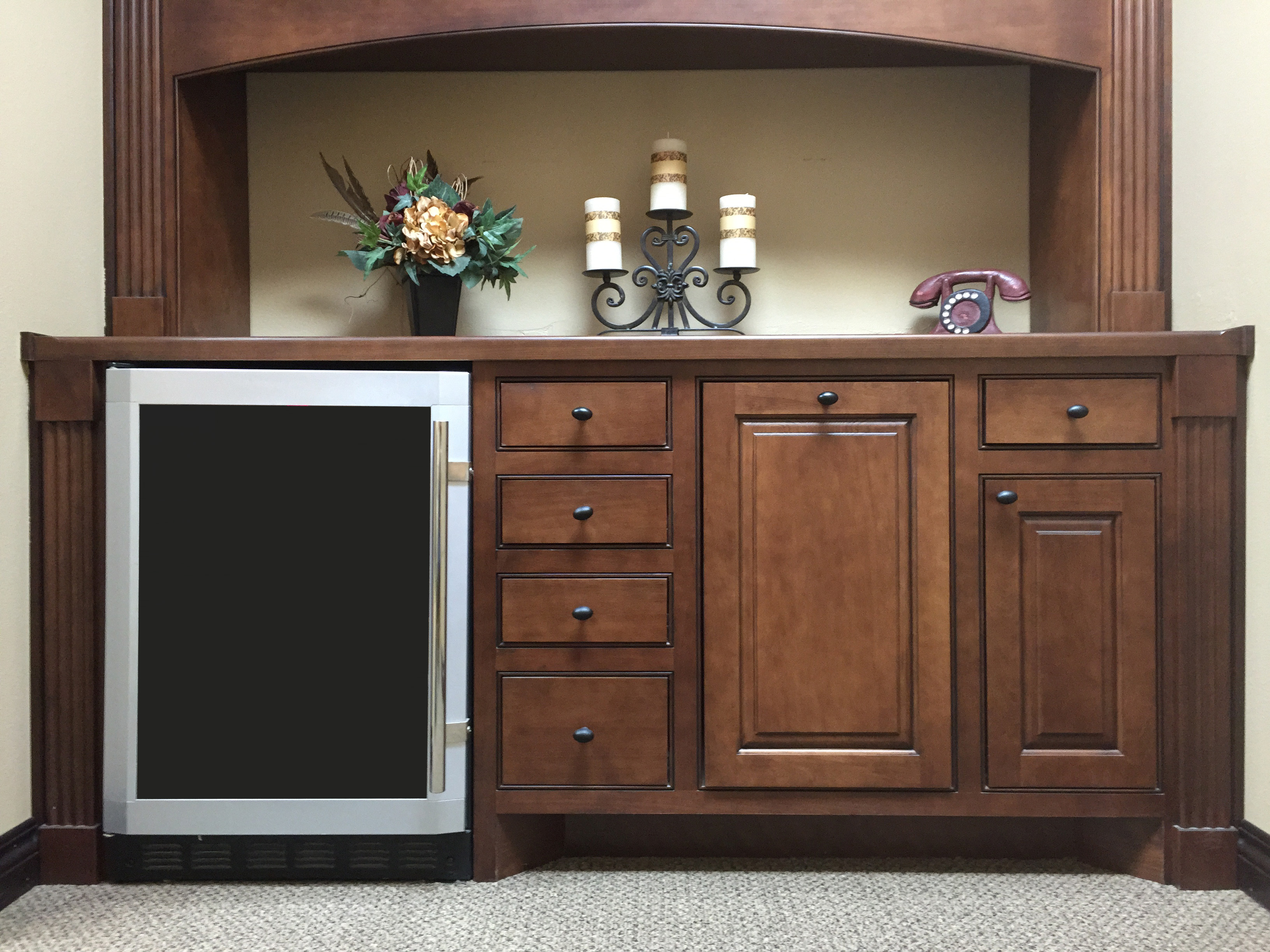 cabinet with flush inset cabinet doors and drawer fronts