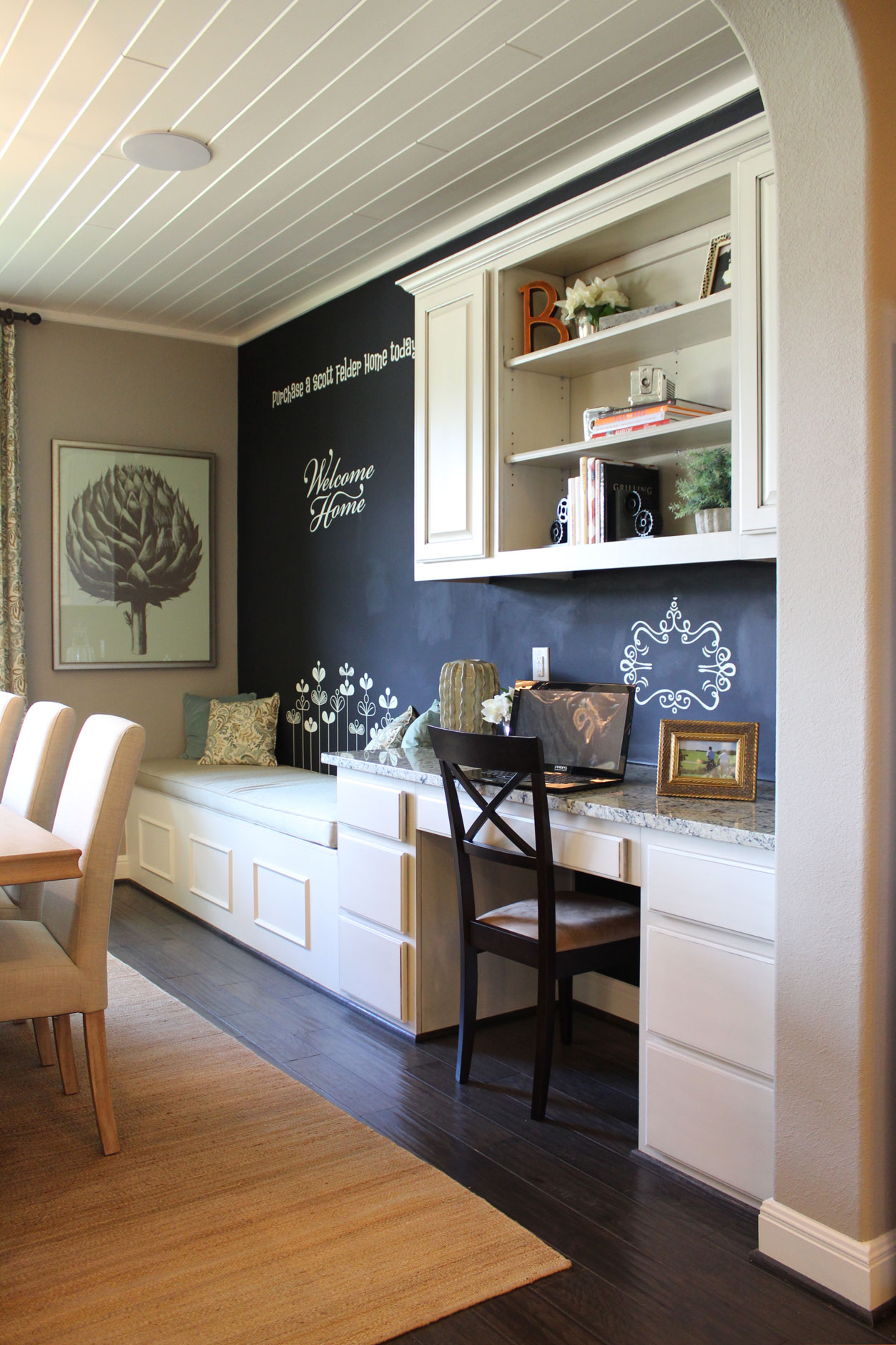 Built-in kitchen desk with chalkboard wall