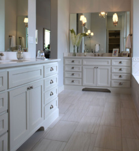 Master Bath With White Shaker Style Cabinet Doors On Face Frame Cabinets