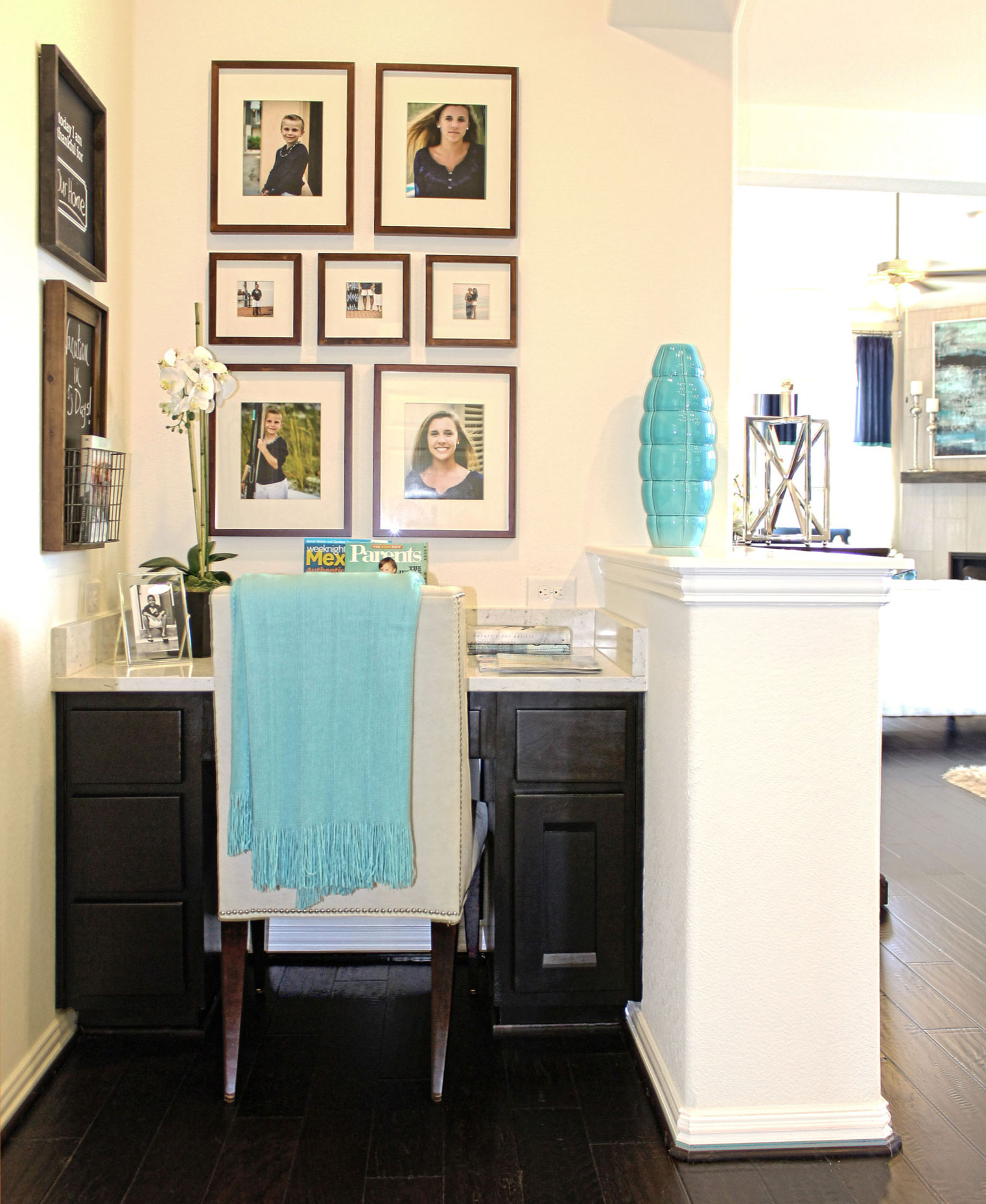 Small built-in study desk with combination frame cabinet doors by TaylorCraft Cabinet Door Company