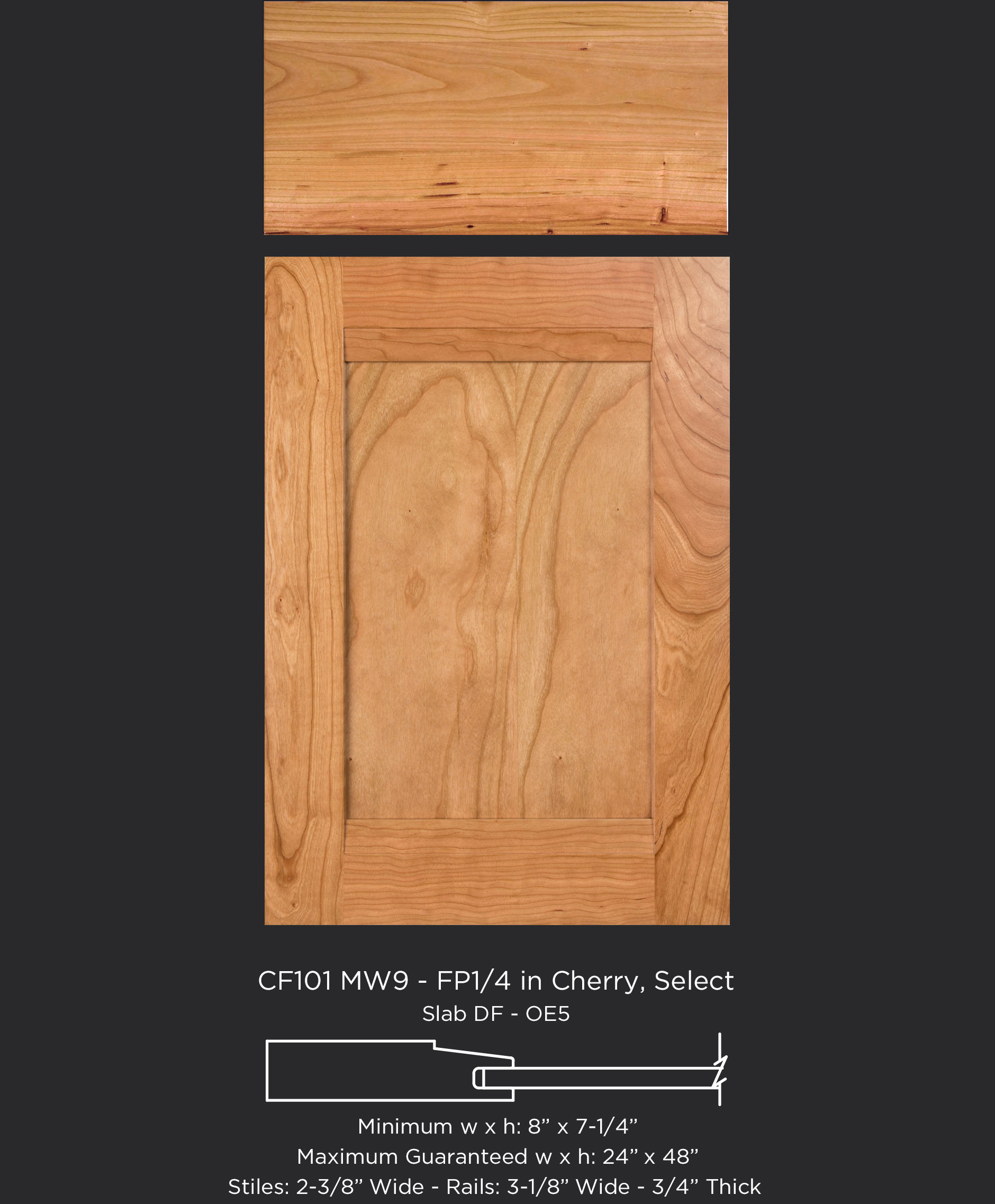 Combination Frame Cabinet Door CF101 MW9-FP1/4 in Cherry, Select with slab drawer front
