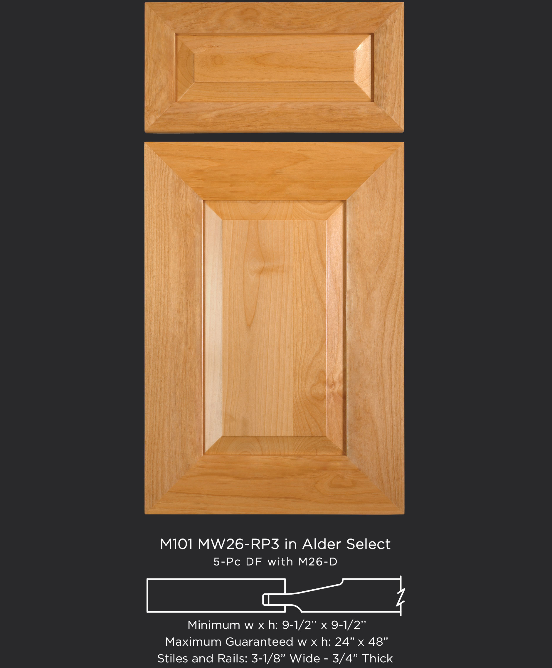 Mitered Cabinet Door M101 MW26 RP3 in Alder Select and 5-piece drawer front with MW26-D