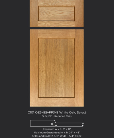 Cope and Stick Cabinet Door C101 OE5-IE9-FP3/8 in White Oak Select