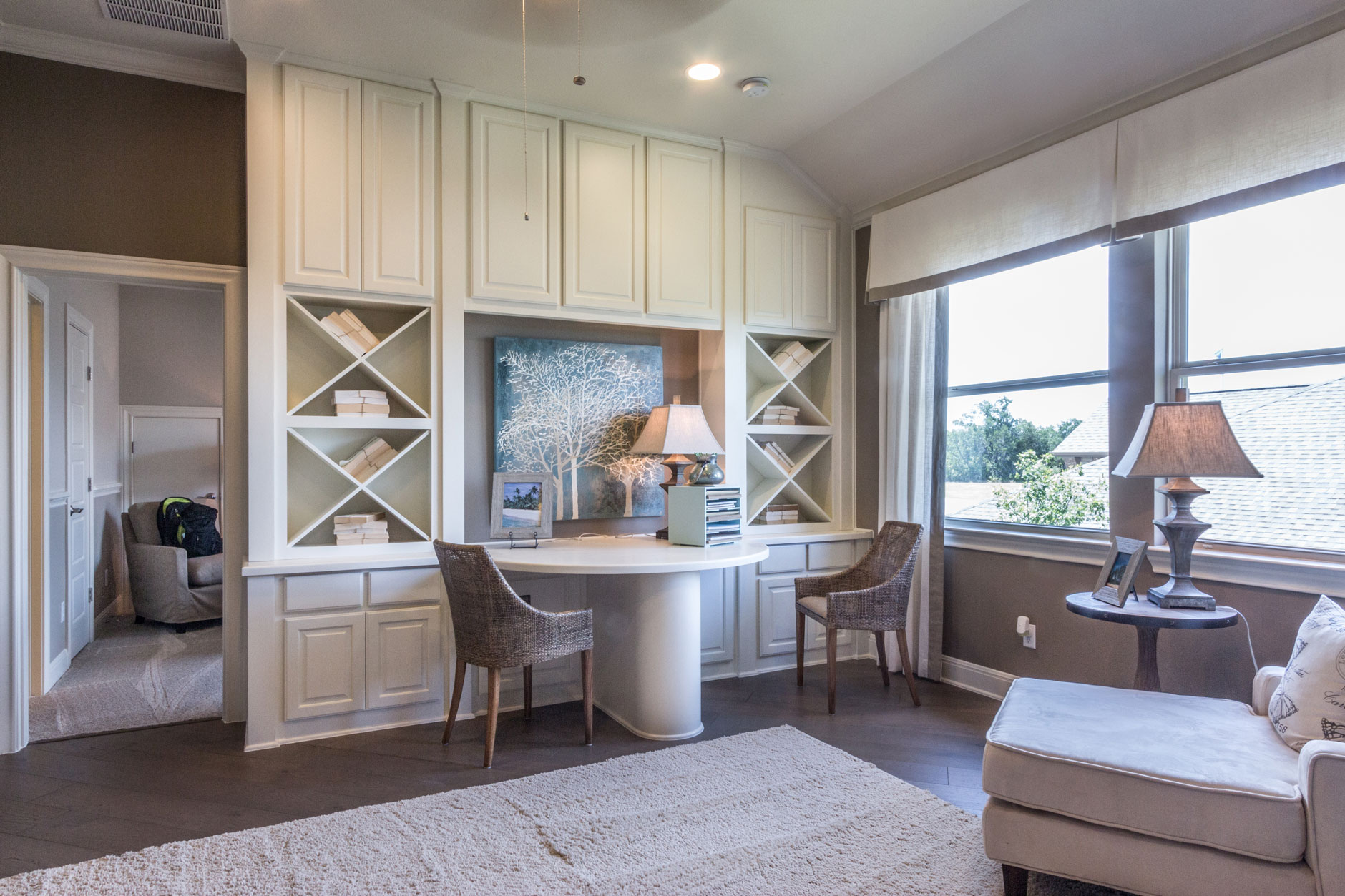 Desk with x bookshelves and TaylorCraft raised panel paint-grade cabinet doors in white