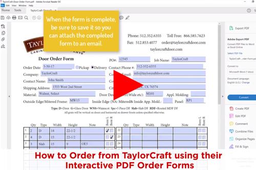 Order Cabinet Doors using Interactive PDF – No Printing Needed