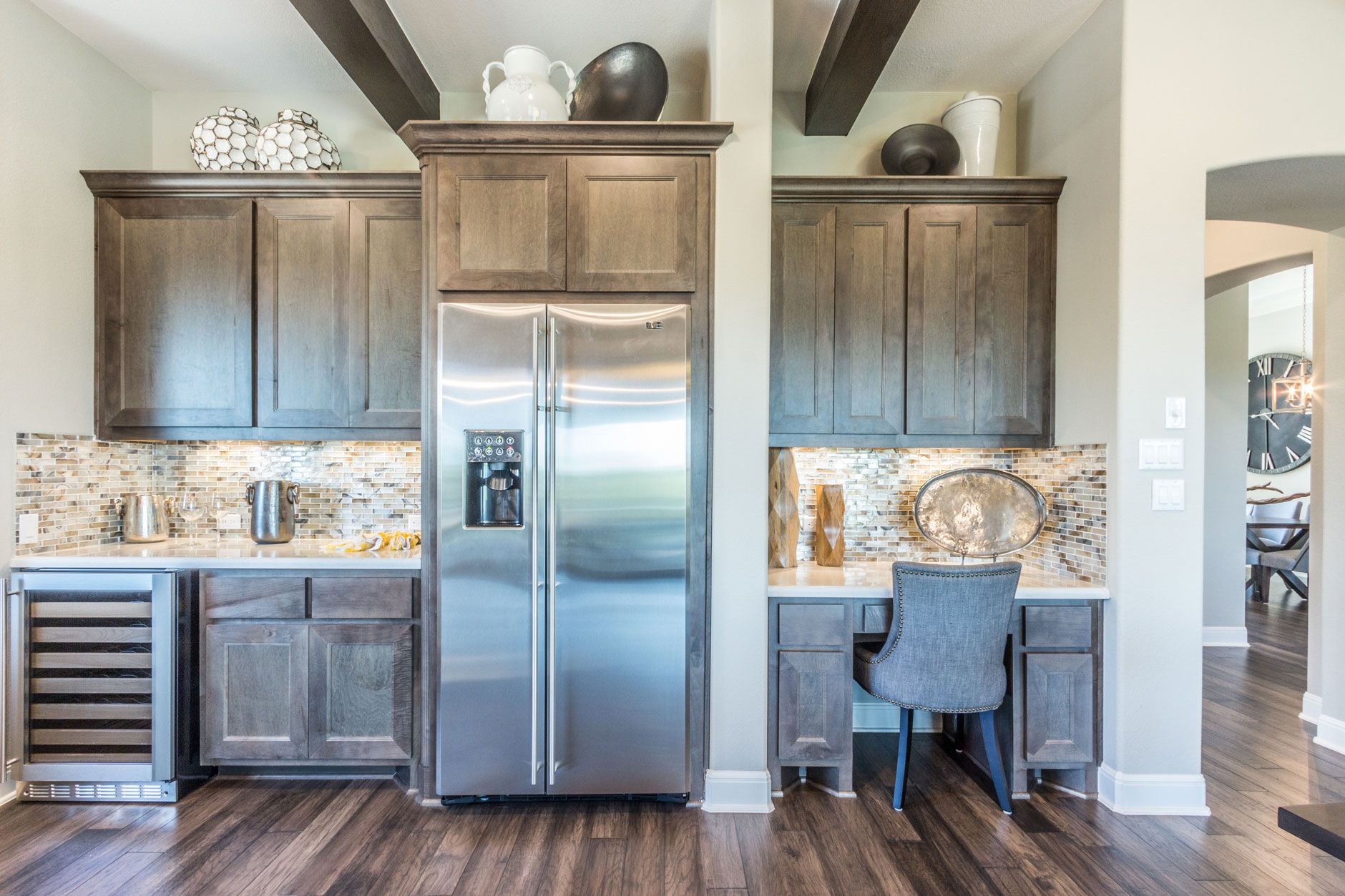 Kitchen desk TaylorCraft mitered cabinet doors hard maple gray stain